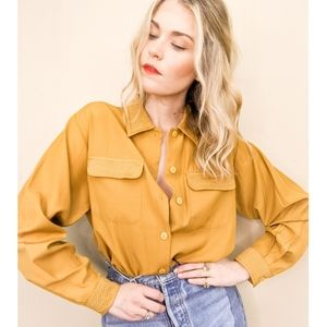 80s Rusty Yellow Long Sleeve Button Down Blouse